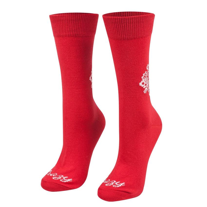Ponožky červené ľudové srdiečko