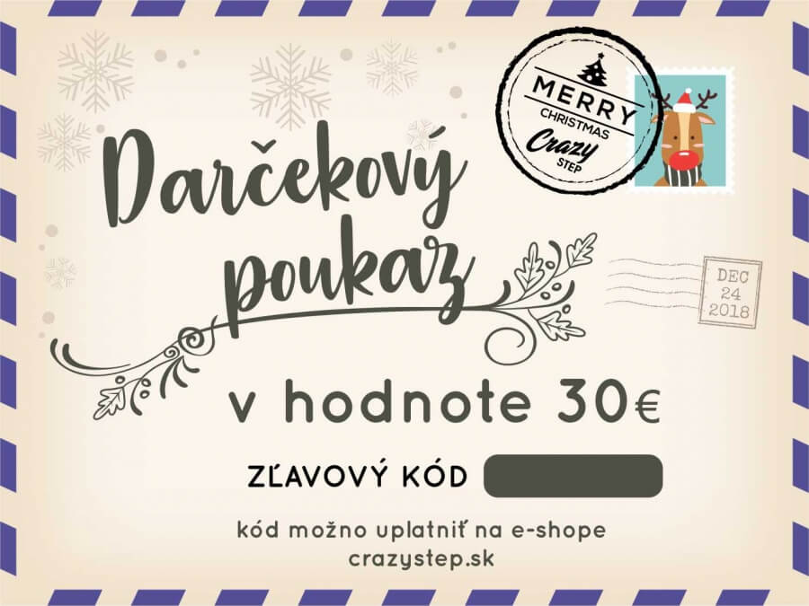 Darčeková poukážka v hodnote 30€ - Crazystep.sk 93924b131a0