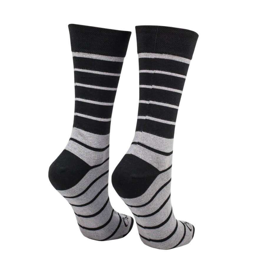Ponožky pásiky čierno - šedé