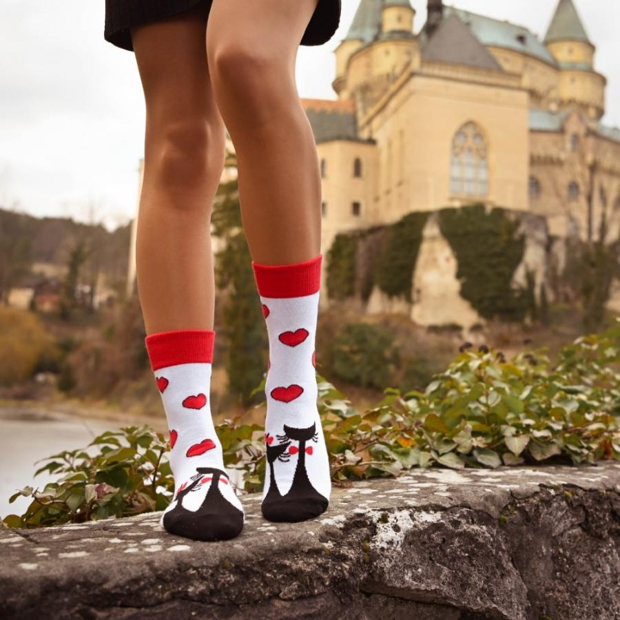 Ponožky zaľúbené mačičky